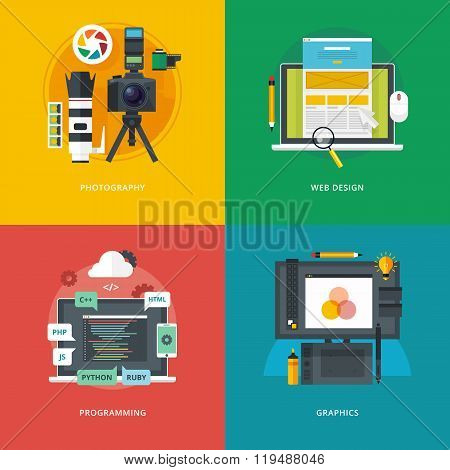 Set of flat design illustration concepts for photography, web design, programming, graphics.  Educat