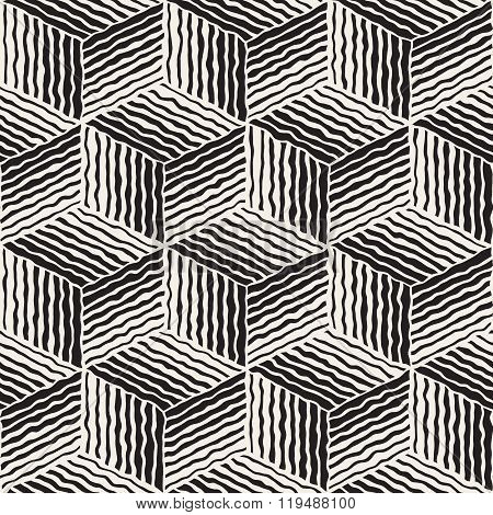 Vector Seamless Geometric Stripes Cube Pattern