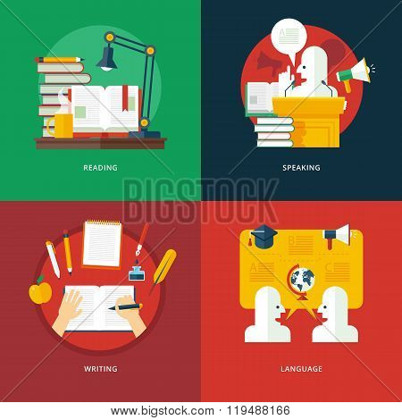 Set of flat design illustration concepts for reading, speaking, writing and language lessons. Educat