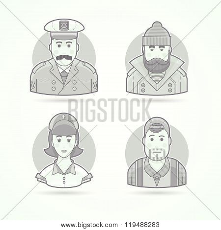 Ship captain, fisherman, nurse and video operator icons. Character, avatar and person illustrations.