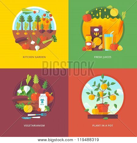 Set of flat design illustration concepts for kitchen garden, fresh juices, vegetarianism and plant i