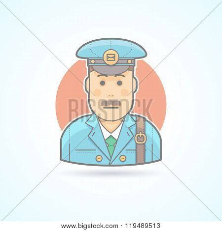 Postman, Mail Carrier Icon. Avatar And Person Illustration. Flat Colored Outlined Style.