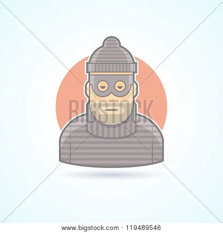 Thief, Criminal, Robber Icon. Avatar And Person Illustration. Flat Colored Outlined Style.