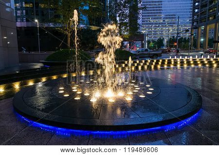 Houston, Tx/usa - Circa July 2013: Fountain With Lights And Illumination In Downtown Houston,  Texas