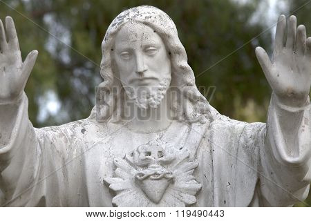 Statue Of Jesus Christ At A Mission In San Diego