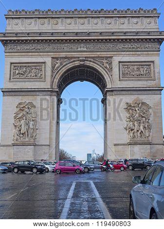 Paris, France - February 8, 2016: triumphal arch  in Paris, France.