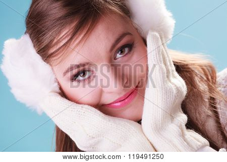 Smiling Cute Pretty Woman Girl In Earmuffs.
