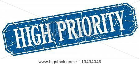 High Priority Blue Square Vintage Grunge Isolated Sign