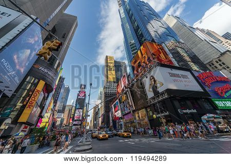 New York City, Ny/usa - Circa July 2013: Time Square In New York  City