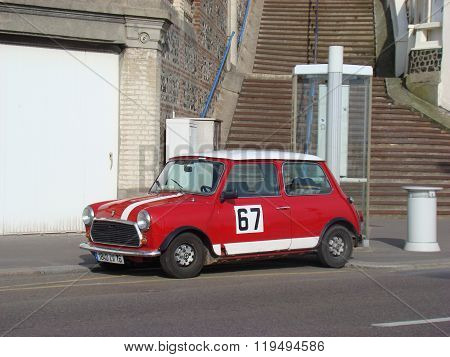 Red Austin Mini Cooper