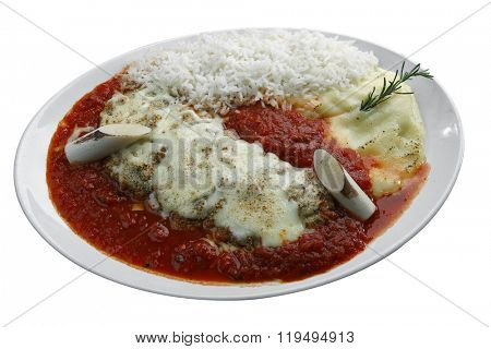 The steak parmigiana with potato and rice