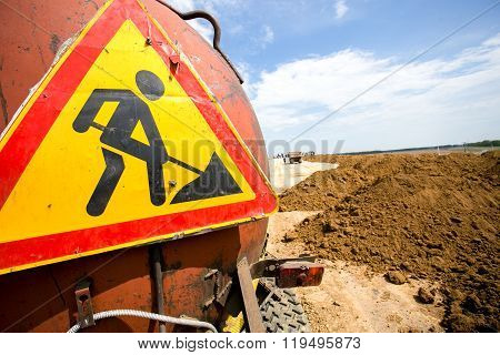 Road works signs on the truck