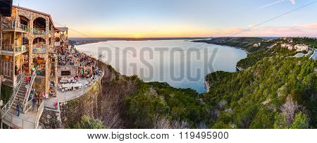 Austin, Tx/usa - Circa February 2016: Panorama Of Lake Travis From The Oasis Restaurant In Austin, T