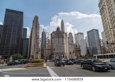 Chicago, Il/usa - Circa July 2015: North Michigan Avenue Of Downtown Chicago,  Illinois