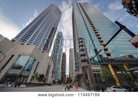 Chicago, Il/usa - Circa July 2015: High Rise Buildings In Chicago,  Illinois