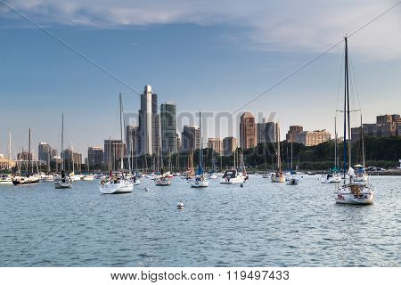 Chicago, Il/usa - Circa July 2015: Yachts In Chicago,  Illinois
