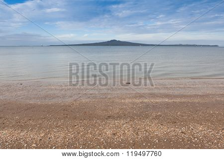 Rangitoto Island From Mission Bay View, Auckland, New Zealand.