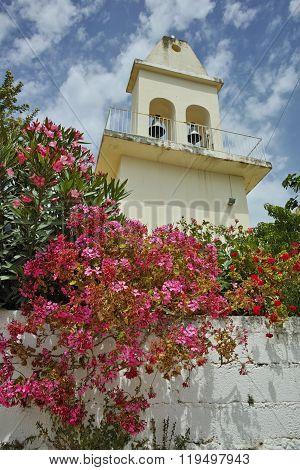 Otthodox church with spring flowers, Kefalonia, Ionian islands, Greece