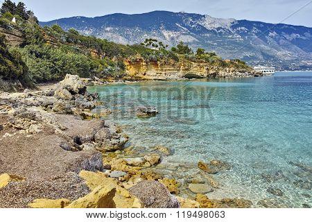 Panorama of Pesada beach, Kefalonia, Ionian islands, Greece