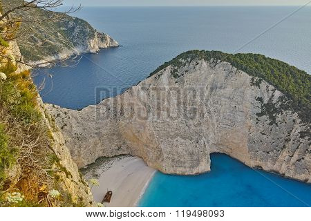 Blue waters of Navagio Shipwreck beach, Zakynthos, Greece