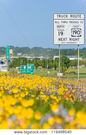 Dallas, Tx/usa - Circa April 2015: Hot Air And Spring Flowers Outside Interstate Highway 45 In  Texa