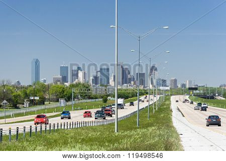 Dallas, Tx/usa - Circa April 2009: Downtown Dallas, Texas As Seen From Interstate Highway  45