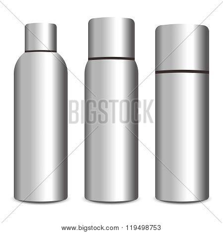 Vector 3D Realistic Shiny Aluminum Spray Bottle Illustration