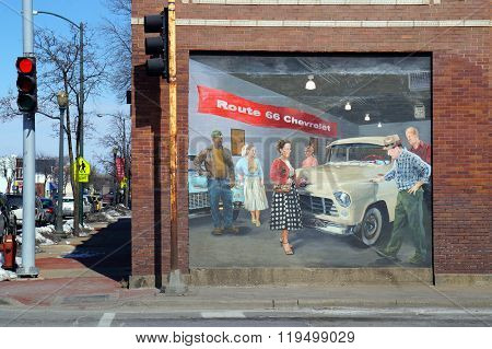 Chevy Dealership Mural: A Tribute to Route 66