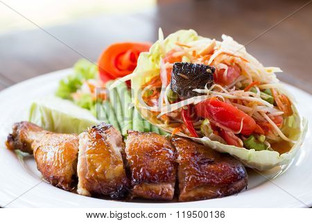 Grilled Chicken And Papaya Salad, Thai Food