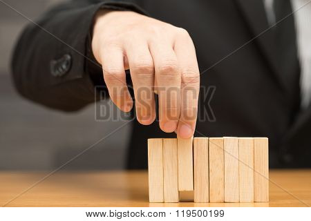 Businessman Choosing The Wood Block, Recruitment Concept