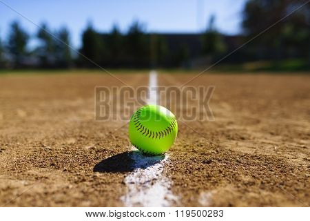 Softball At A Softball Field In California Mountains