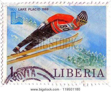 Liberia - Circa 1980: Stamp Printed By Liberia, Shows Ski Jump, Circa 1980