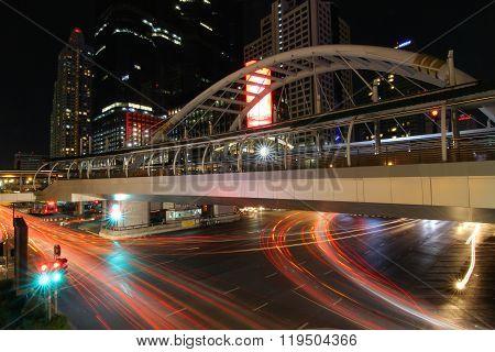 Bangkok, Thailand -june 8, 2015 : Night Light At Chong Nonsi Skywalk For Transit Between Sky Train O