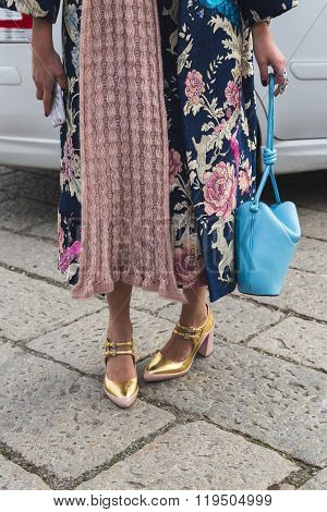 Detail Of Shoes And Bag Outside Gucci Fashion Show Building In Milan, Italy