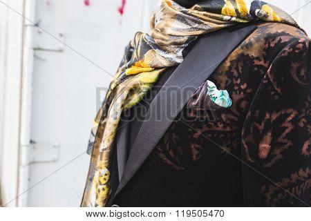 Detail Of Etro Jacket Outside Gucci Fashion Show Building For Milan Women's Fashion Week 2016