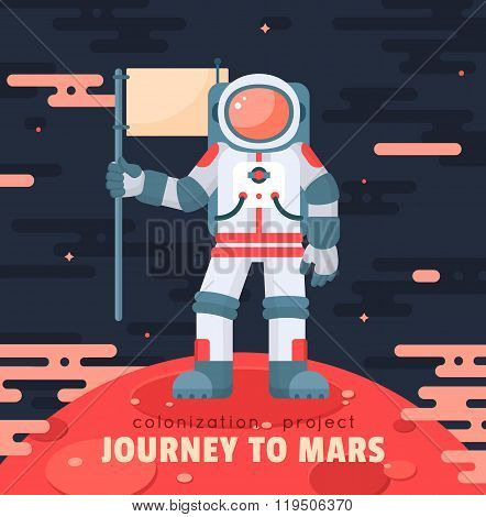 Mars colonization project poster with astronaut holding flag. First travel to Mars