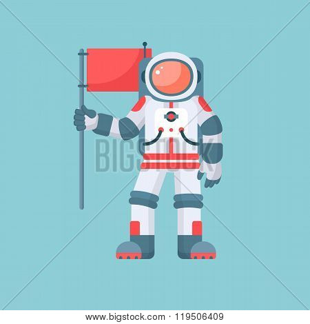 Astronaut holding red flag vector illustration. Astronaut in spacesuit isolated on blue background