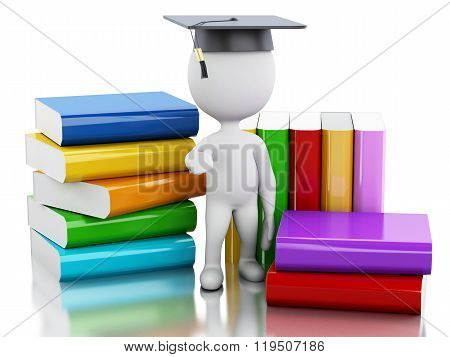 3D White People Graduate With Books.