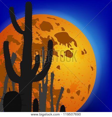 Saguaro Cactus against moon. Vector illustration.