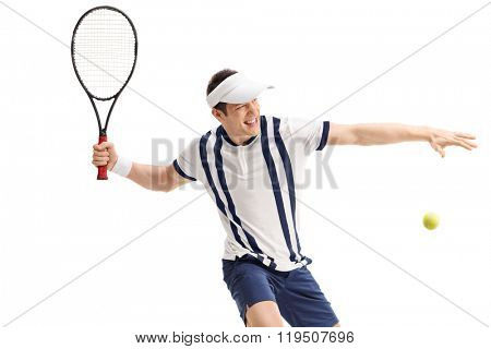 Young tennis player shot in the moment right before hitting a return isolated on white background
