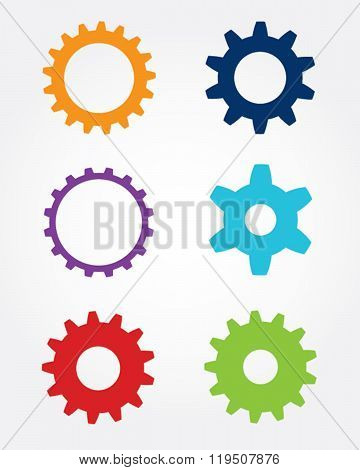 A collection of colorful vector gears and cogs