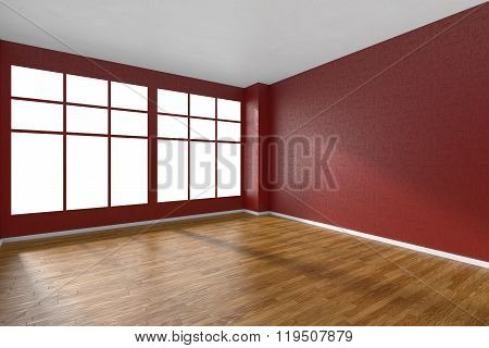 Empty Room With Parquet Floor, Red Textured Walls And Big Window