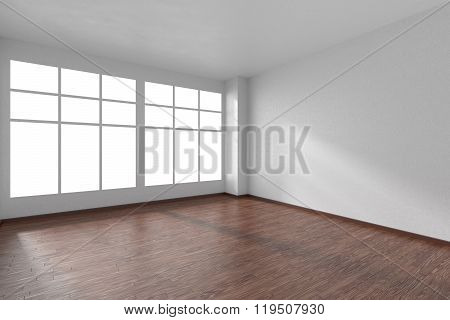 Empty Room With Parquet Floor, White Textured Walls And Window