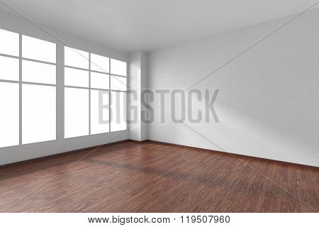 Empty Room With Dark Wooden Parquet Floor, Textured White Walls And Window