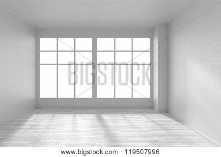 Empty Room With White Parquet Floor, Textured White Walls And Big Window