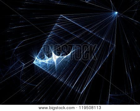 Abstract space or technology background - computer-generated image. Dark fractal background with glowing lines and dots. Trendy fractal artwork for web-design covers and posters.