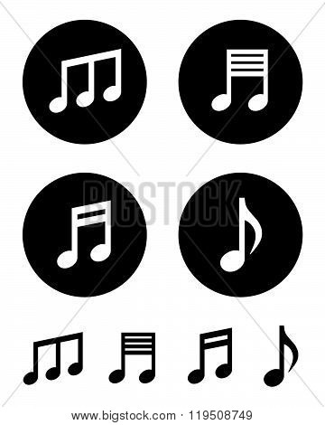 A collection of vector musical notes