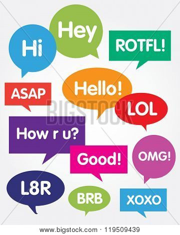 Vector communication bubble set with messaging