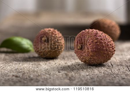 Lychee On A Wooden Table