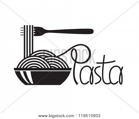 monochrome illustration of fork and dish with pasta